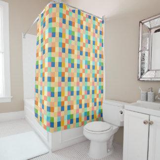 Cortina Para Chuveiro Brilhante multicolorido do teste padrão Checkered