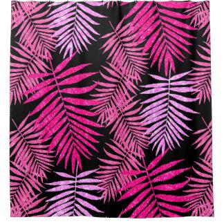 Cortina Para Chuveiro Brilho cor-de-rosa do falso da folha da palmeira