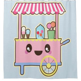 Cortina Para Chuveiro Carro doce cor-de-rosa - sorvete, cortina de chá