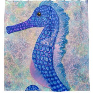 Cortina Para Chuveiro Cavalo marinho azul lunático com chá das bolhas
