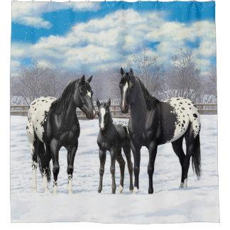 Cortina Para Chuveiro Cavalos pretos do Appaloosa na neve