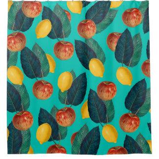 Cortina Para Chuveiro cerceta das maçãs e dos limões