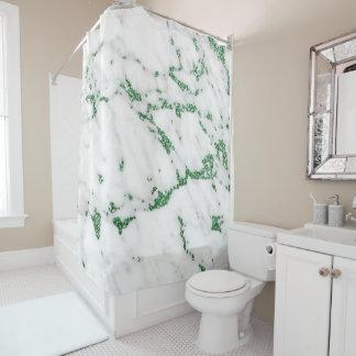 Cortina Para Chuveiro Cinzas verdes tropicais brancas de pedra de