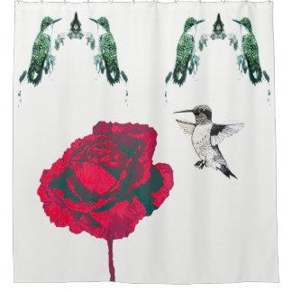 Cortina Para Chuveiro Colibris da rosa vermelha