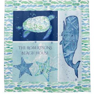 Cortina Para Chuveiro Coloque a tartaruga da estrela do mar da baleia do