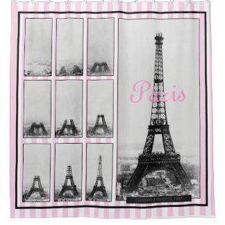 Cortina Para Chuveiro Construção da torre de Gustavo Eiffel em Paris