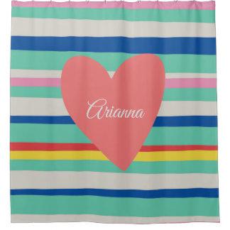 Cortina Para Chuveiro Coração feminino do arco-íris bonito