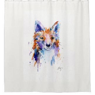 Cortina Para Chuveiro Cortina de chá abstrata do Fox da aguarela