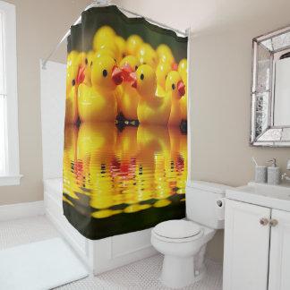 Cortina Para Chuveiro Cortina de chá amarela nadadora dos patos
