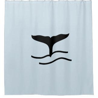 Cortina Para Chuveiro Cortina de chá azul da cauda da baleia