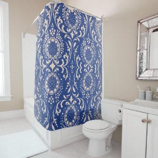 Cortina Para Chuveiro Cortina de chá azul do banheiro de Toile