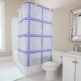 Cortina Para Chuveiro Cortina de chá branca azul do mosaico de N