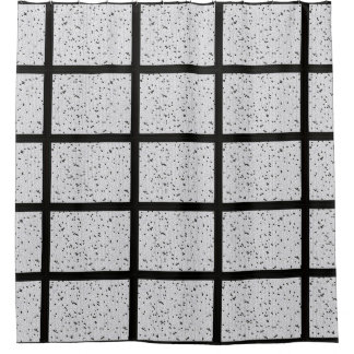 Cortina Para Chuveiro Cortina de chá branca preta do mosaico de N