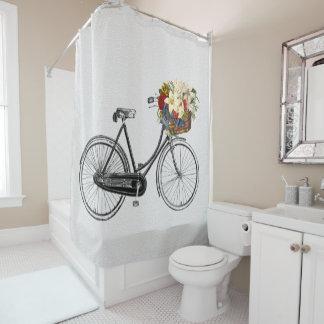 Cortina Para Chuveiro cortina de chá da bicicleta da flor da bicicleta