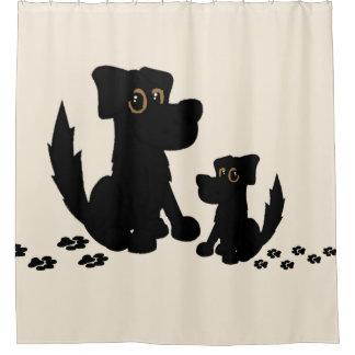 Cortina Para Chuveiro Cortina de chá da família de cão preto