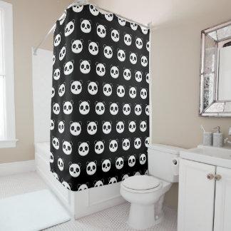 Cortina Para Chuveiro Cortina de chá da panda, banheiro preto e branco