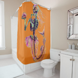 Cortina Para Chuveiro cortina de chá de esqueleto da sereia customizável