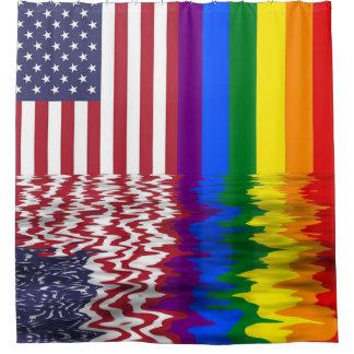 Cortina Para Chuveiro Cortina de chá do apoio da bandeira americana LGBT