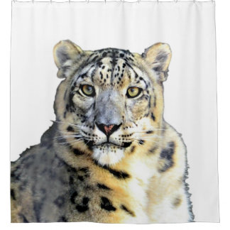 Cortina Para Chuveiro Cortina de chá do leopardo de neve