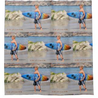 Cortina Para Chuveiro Cortina de chá do surfista do homem da ação