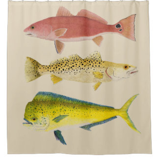Cortina Para Chuveiro Cortina de chá dos Gamefish do oceano