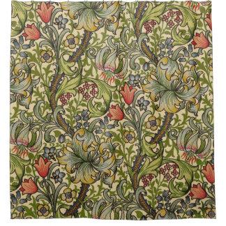 Cortina Para Chuveiro Cortina de chá dourada do lírio de William Morris
