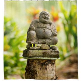 Cortina Para Chuveiro Cortina de chá feliz de Buddha do jardim
