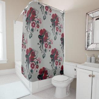 Cortina Para Chuveiro cortina de chá floral vermelha customizável