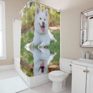 Cortina Para Chuveiro Cortina de chá macia branca bonito do cão