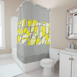 Cortina Para Chuveiro Cortina de chá moderna abstrata do amarelo e das