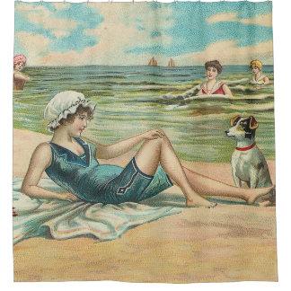 Cortina Para Chuveiro Cortina de chá nadadora da praia do Victorian do