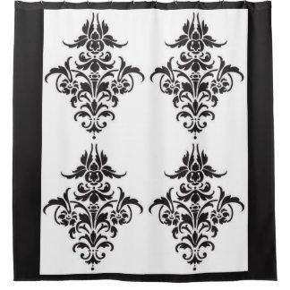 Cortina Para Chuveiro Cortina de chá preto e branco elegante do damasco
