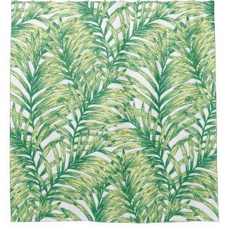 Cortina Para Chuveiro Cortina de chá verde tropical da folha da