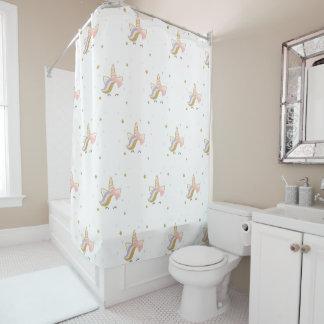 Cortina Para Chuveiro Cortina do banheiro do unicórnio, ouro e decoração