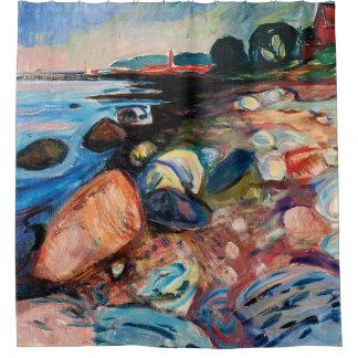 Cortina Para Chuveiro Costa com a casa vermelha por Edvard Munch