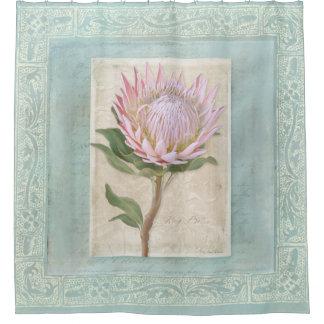 Cortina Para Chuveiro Da flor cor-de-rosa do rei Protea do vintage