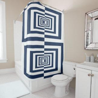 Cortina Para Chuveiro Design geométrico azul & branco do teste padrão