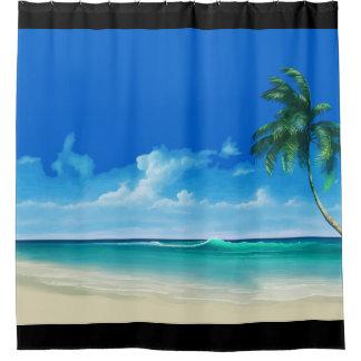 Cortina Para Chuveiro Design litoral da praia tropical