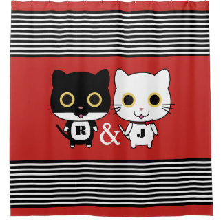 Cortina Para Chuveiro Dois gatos legal personalizados