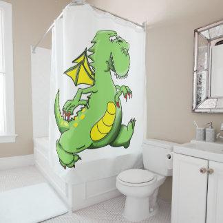 Cortina Para Chuveiro Dragão verde dos desenhos animados que anda em