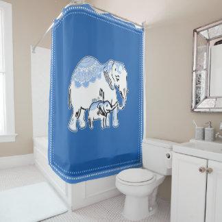 Cortina Para Chuveiro Elefantes ornamentado azuis e cortina de chá