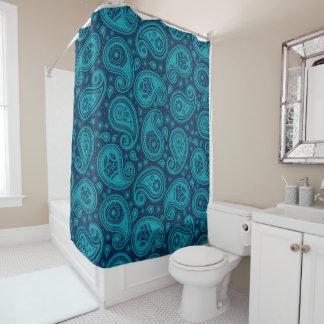 Cortina Para Chuveiro Elegante azul do teste padrão de Paisley