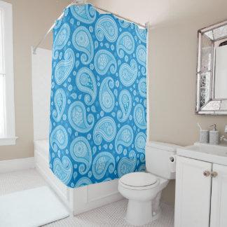 Cortina Para Chuveiro Elegante azul limpo do teste padrão de Paisley