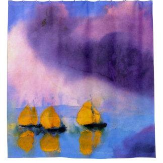 Cortina Para Chuveiro Emil Nolde - mar com nuvens e os veleiros violetas