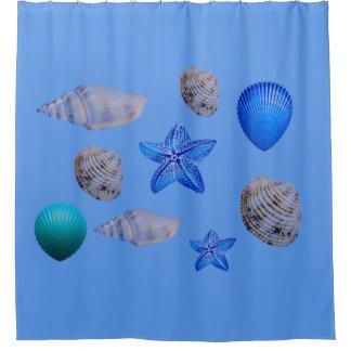 Cortina Para Chuveiro Escudos do mar em uma cortina de chá
