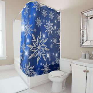 Cortina Para Chuveiro Estrelas azuis do Natal com o cristal de gelo