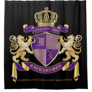 Cortina Para Chuveiro Faça seu próprio emblema da coroa do monograma da