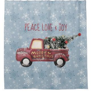 Cortina Para Chuveiro Feliz Natal do caminhão do brinquedo do amor & da