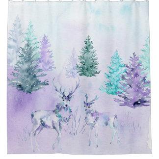 Cortina Para Chuveiro Feriado de inverno - cena dos cervos da aguarela