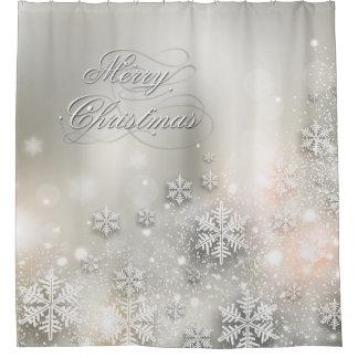 Cortina Para Chuveiro Floco de neve elegante do feriado do Natal